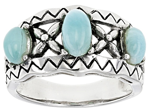 Photo of Oval Cabochon Larimar Sterling Silver 3-Stone Band Ring - Size 6