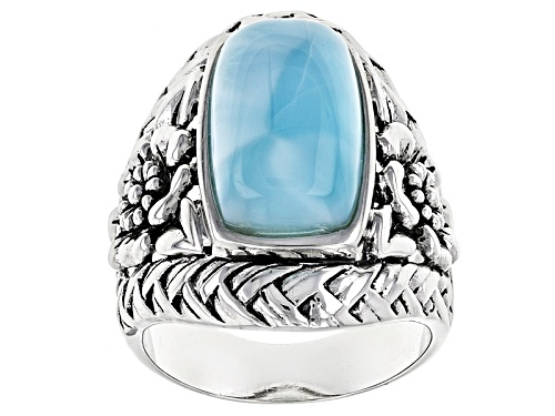 Photo of 16x9.5mm Rectangular Cushion Cabochon Larimar Sterling Silver Solitaire Ring - Size 6
