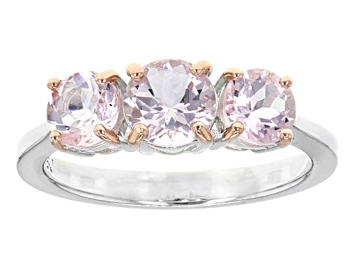 Photo of 1.40ctw Round Pink Morganite Sterling Silver 3-Stone Ring - Size 12