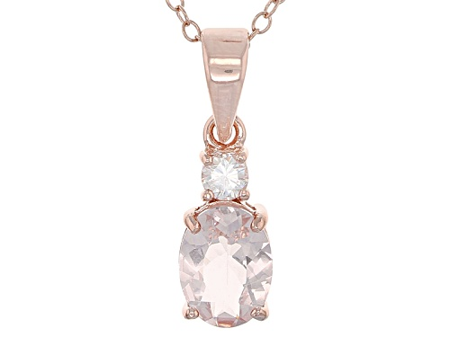 Photo of 1.02ctw Oval Morganite And Round Lab Strontium Titante 18k Rose Gold Over Silver Pendant With Chain