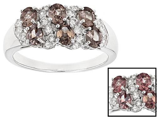 Photo of 1.09ctw Oval Color Change Garnet With .24ctw Round White Zircon Sterling Silver Band Ring - Size 7