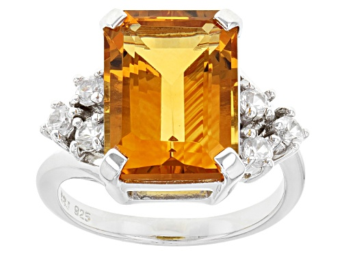 Photo of 6.01ct Emerald Cut Brazilian Citrine With .50ctw Round White Zircon Sterling Silver Ring - Size 8