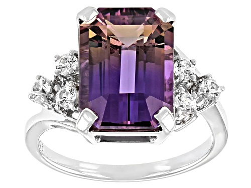 Photo of 7.74ct Emerald Cut Ametrine With .50ctw White Zircon Rhodium Over Sterling Silver Ring - Size 9