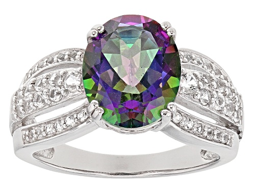 Photo of 4.02ct Oval Multicolor Mystic Topaz® With .48ctw Round White Topaz Sterling Silver Ring - Size 8