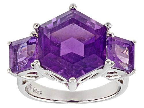 Photo of 7.34CTW HEXAGONAL AND SQUARE OCTAGONAL  AFRICAN AMETHYST STERLING SILVER 3-STONE RING - Size 5