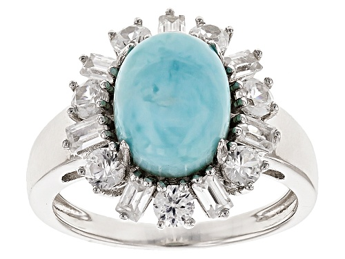 Photo of 11x9mm Oval Cabochon Larimar With 1.80ctw Baguette And Round White Zircon Sterling Silver Ring - Size 7
