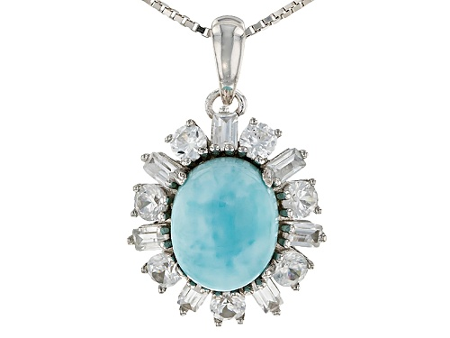 Photo of 11x9mm Oval Cabochon Larimar With 1.80ctw Baguette And Round White Zircon Silver Pendant With Chain