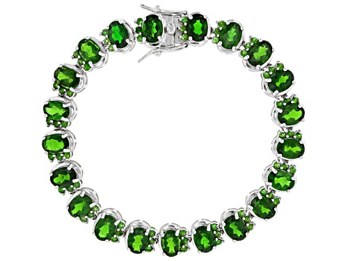 Photo of 18.43ctw Oval & Round Russian Chrome Diopside Sterling Silver tennis Bracelet - Size 8