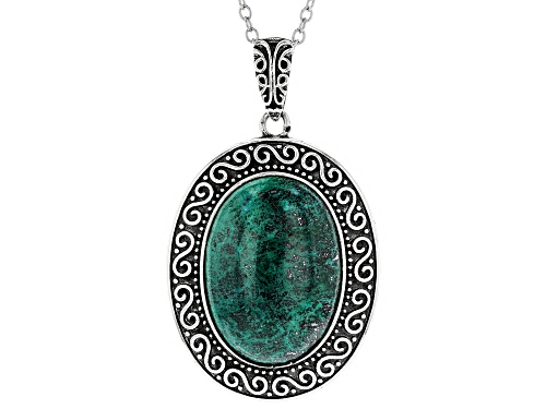 Photo of 25x18mm Oval Cabochon Chrysocolla Sterling Silver Pendant With Chain