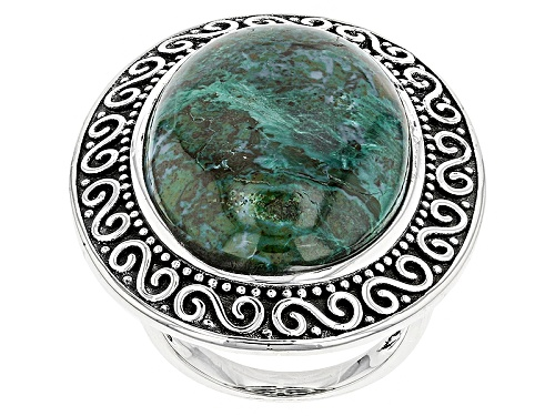 Photo of 25x18mm Oval Cabochon  Chrysocolla Sterling Silver Ring - Size 8