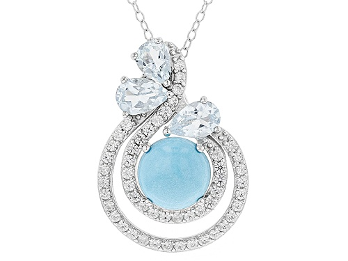 Photo of 8mm Sleeping Beauty Turquoise, 1.23ctw Glacier Topaz™And .45ctw White Zircon Silver Slide W/Chain