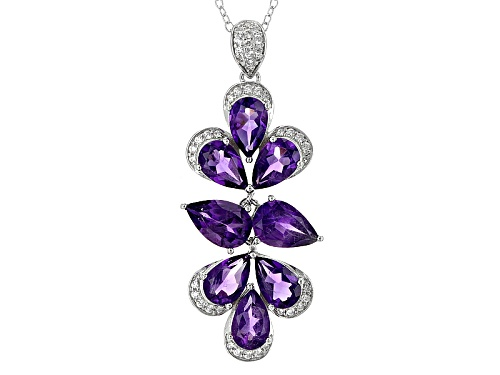 Photo of 6.41ctw Pear Shape African Amethyst And .38ctw Round White Zircon Silver Pendant With Chain