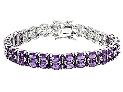 Photo of 13.26ctw Oval Uruguayan Amethyst Sterling Silver Two Row Bracelet - Size 8