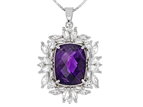 Photo of 7.39CT RECTANGULAR CUSHION AFRICAN AMETHYST WITH 3.68CTW WHITE TOPAZ SILVER PENDANT WITH CHAIN