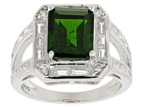 Photo of 5.25ctw Rectangular Octagonal Russian Chrome Diopside And Mixed Shape White Zircon Silver Ring - Size 7