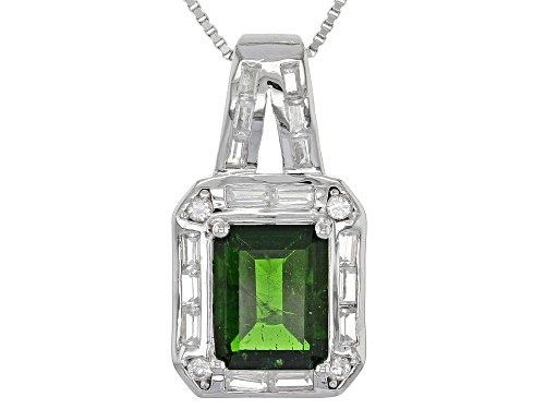 Photo of 4.46ctw Mixed Shape Russian Chrome Diopside With White Zircon Silver Pendant With Chain