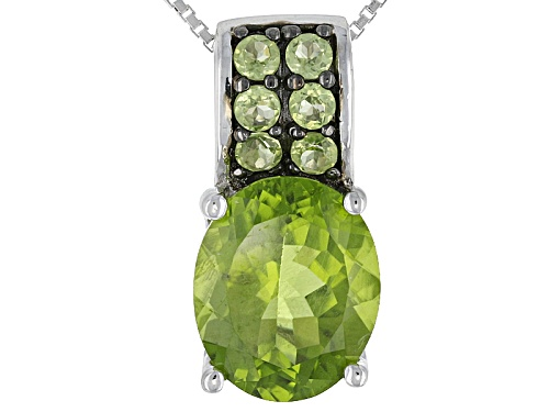 Photo of 4.34ctw Oval And Round Manchurian Peridot™ Sterling Silver Pendant With Chain