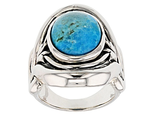 Photo of 14x11mm Oval Cabochon Blue Turquoise Sterling Silver Solitaire Ring - Size 6