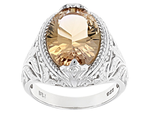 Photo of 4.48ct Oval Quantum Cut(R) Champagne Quartz Sterling Silver Solitaire Ring - Size 6