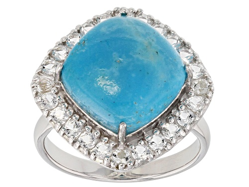 Photo of 12mm Square Cushion Cabochon Turquoise And .98ctw Round White Topaz Sterling Silver Ring - Size 6