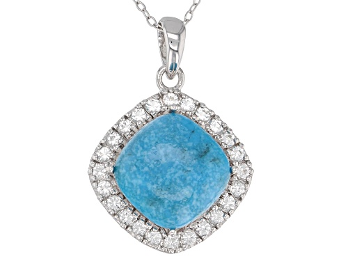 Photo of 12mm Square Cushion Cabochon Turquoise And .98ctw Round White Topaz Silver Pendant With Chain