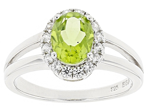 Photo of 1.36ct Oval Manchurian Peridot™ With .27ctw Round White Zircon Sterling Silver Ring - Size 11
