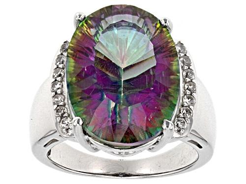 Photo of 10.14ct Quantum Cut (R) Multi Color Mystic Quartz® & .29ctw White Zircon Rhodium Over Silver Ring - Size 7