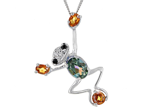 Photo of 1.65ctw Green Halo™ & Dragonfly™ Topaz, Black Spinel & White Topaz Silver Frog Pendant W/Chain