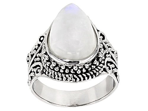 Photo of 14x9mm Pear Shape Cabochon Rainbow Moonstone Sterling Silver Ring - Size 6