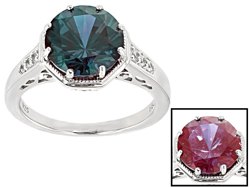 Photo of 3.74ct Round Lab Created Alexandrite With .10ctw Round White Zircon Sterling Silver Ring - Size 11