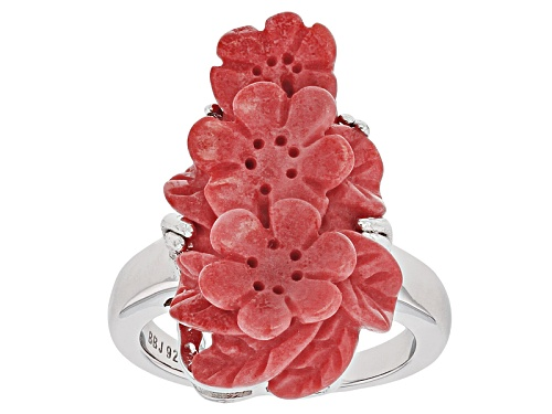 Photo of 25x15mm Three Fancy Carved Red Coral Flowers Sterling Silver Ring - Size 5