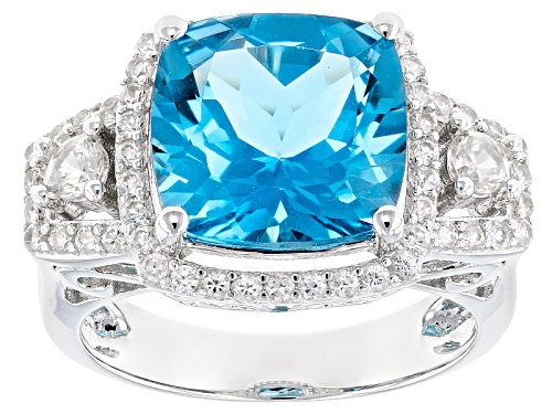 Photo of 5.27ct Square Cushion Swiss Blue Topaz & .92ctw Round White Zircon Sterling Silver Ring - Size 11