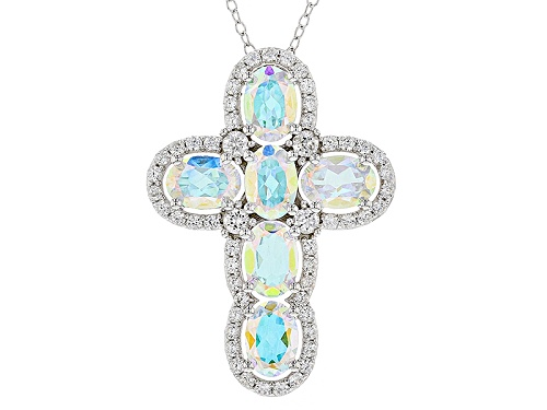 Photo of 4.74ctw Oval Mercury Mist® Mystic Topaz® & 1.28ctw White Zircon Silver Cross Pendant With Chain