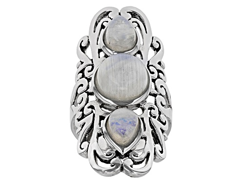 Photo of Round And Pear Shape Cabochon Rainbow Moonstone Sterling Silver 3-Stone Ring - Size 6