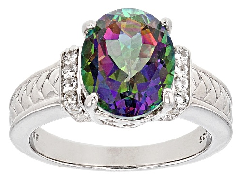 Photo of 3.86ct Oval Multicolor Mystic Topaz® With .09ctw Round White Topaz Sterling Silver Ring - Size 7