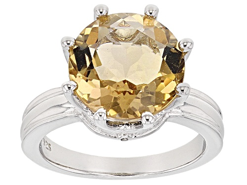 Photo of 4.76ct Round Champagne Quartz With .01ctw Round Champagne 4 Diamond Accent Silver Ring - Size 7