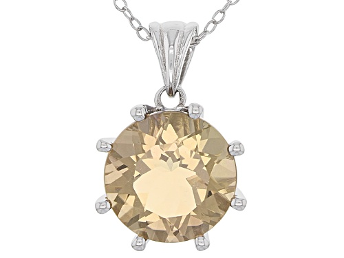 Photo of 4.76ct Round Champagne Quartz And .01ctw Round Champagne 4 Diamond Accent Silver Pendant With Chain
