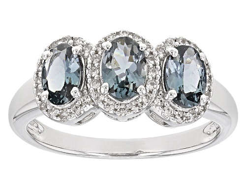 Photo of 1.22ctw Oval Platinum color Spinel And .38ctw Round White Zircon Sterling Silver Ring - Size 8