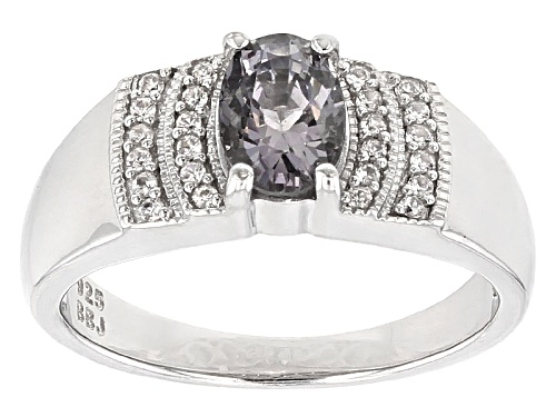 Photo of .70ct Oval Platinum Color Spinel And .20ctw Round White Zircon Sterling Silver Ring - Size 7