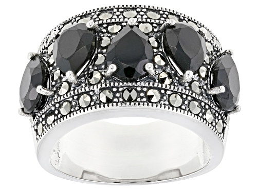 Photo of 4.30ctw Pear Shape Black Spinel With Round Marcasite Sterling Silver 5-stone Band Ring - Size 5