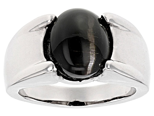 Photo of 11x9mm Oval Cabochon Black Cat's Eye Sillimanite Sterling Silver Solitaire Ring - Size 8