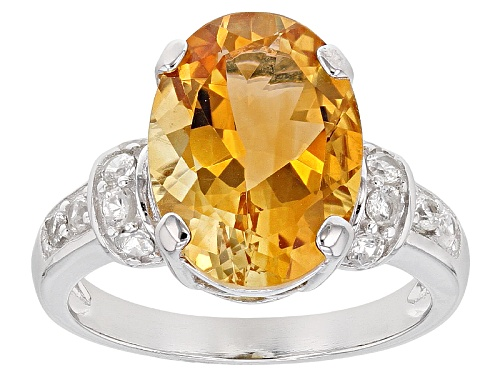 Photo of 4.25ct Oval Brazilian Citrine With .60ctw Round White Zircon Sterling Silver Ring - Size 9