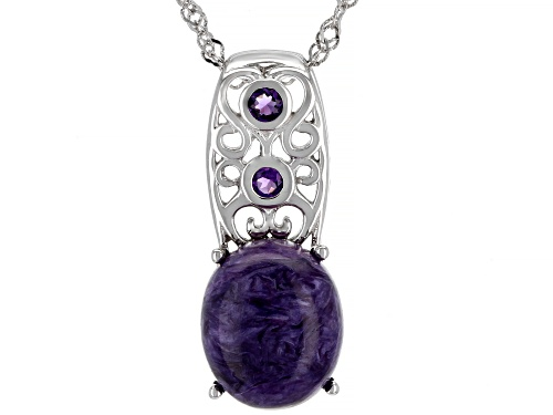 Photo of 12x10mm Russian Charoite With .09ctw African Amethyst Rhodium Over Silver Pendant With Chain