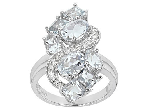 Photo of 3.58ctw Oval And Square Cushion Aquamarine With .24ctw Round White Zircon Sterling Silver Ring - Size 8