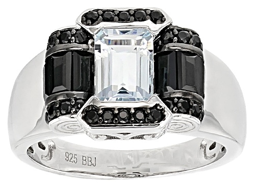 Photo of .40ct Emerald Cut Aquamarine With .89ctw Mixed Shape Black Spinel Sterling Silver Ring - Size 7