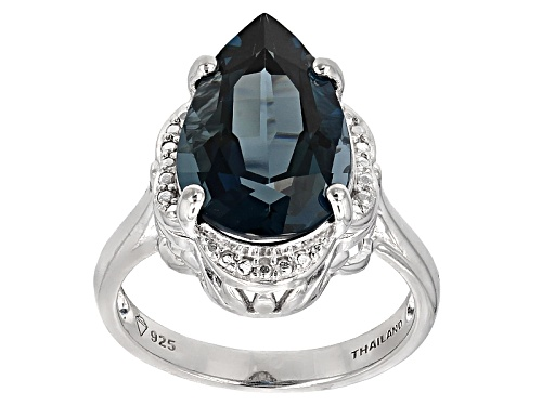 6.50ct Pear Shape London Blue Topaz Sterling Silver Solitaire Ring - Size 12