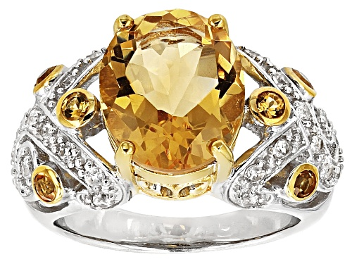 Photo of 3.87ctw Oval And Round Brazilian Citrine With .50ctw Round White Zircon Sterling Silver Ring - Size 11