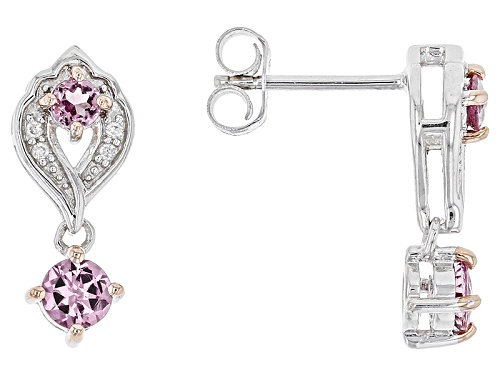 Photo of .82ctw Round Blush Color Garnet With .05ctw Round White Zircon Sterling Silver Dangle Earrings
