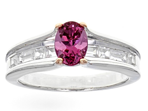 Photo of .80ct Oval Blush Color Garnet With .81ctw Baguette And Square White Zircon Sterling Silver Ring - Size 8