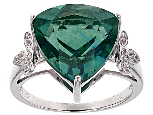 Photo of 7.57ct Trillion Teal Fluorite With .15ctw Round White Zircon Sterling Silver Ring - Size 6